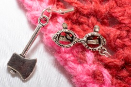 Axe and glasses stitch markers